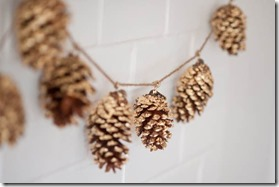 DIY gold leaf pinecone garland