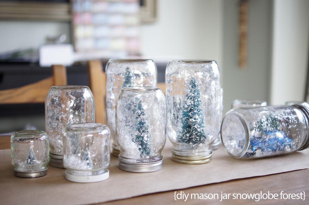 A Pinterest Christmas Mason Jar Snowglobe Forest